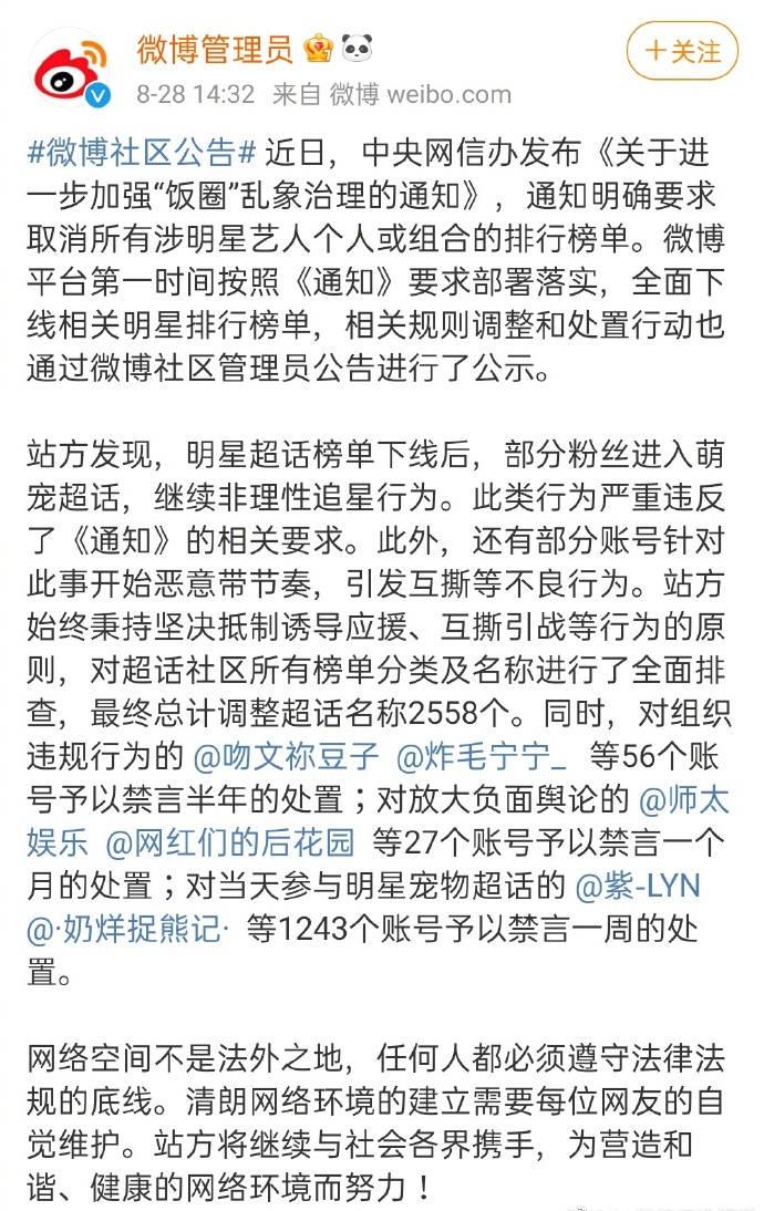 微博平台发布公告:最终总计调整超话名称2558个