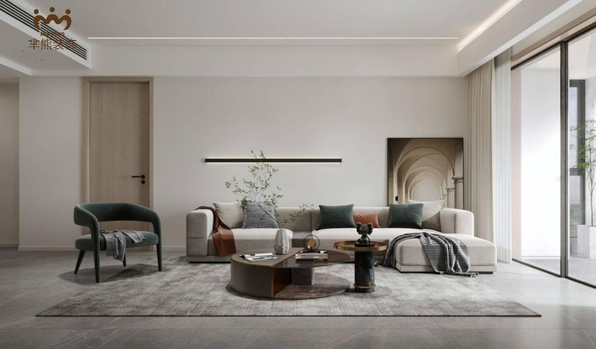 芈熊装饰   116㎡现代简约宅,全屋大白墙+灰色木地板,精致又个性