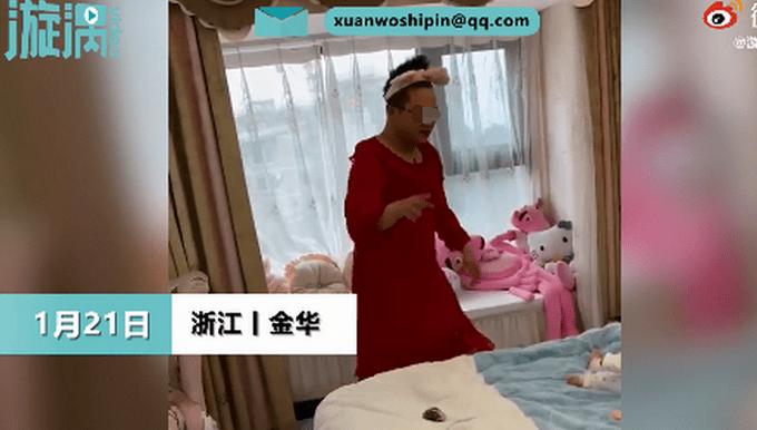 笑喷!爸爸穿蕾丝睡衣客串妈妈跳舞哄娃,妈妈:我平时就穿这件衣服