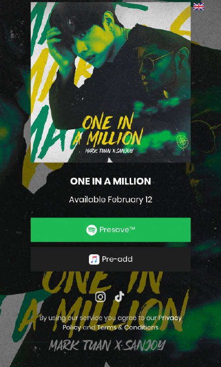 GOT7段宜恩个人单曲《One in a Million(with Sanjoy)》2月12日惊喜来袭!