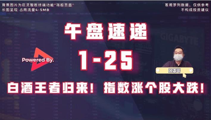 [午间快报01-25]酒王回归指数上涨,股票大跌!