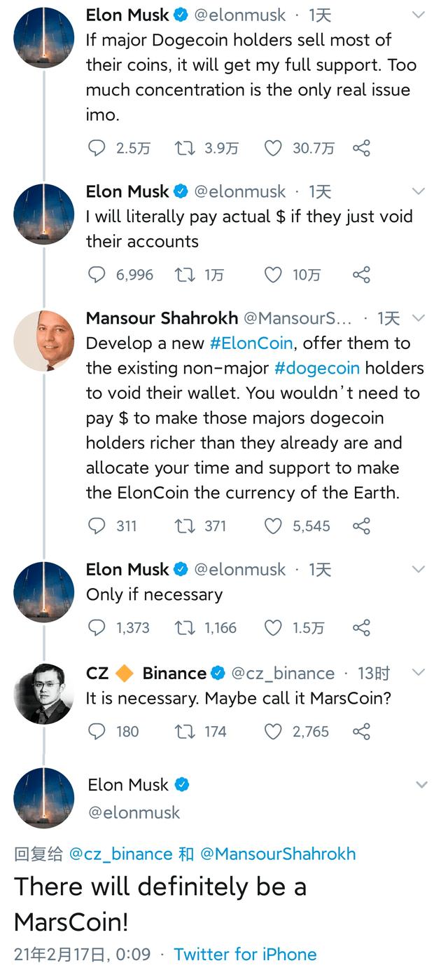 """哪个网络兼职平台比较安全?特斯拉CEO马斯克回复网友:肯定会有""""火星币""""的"""