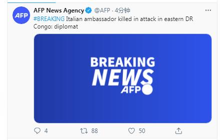 快讯!外媒:意大利大使在刚果(金)遇袭身亡