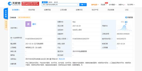 小鹏汽车在深圳成立科技新公司,注册资本5000万 小鹏汽车科技有限公司
