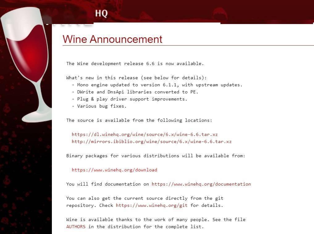 Wine 6.6 版本发布:Mono 引擎更新:修复版本错误,改进即插即用驱动支持