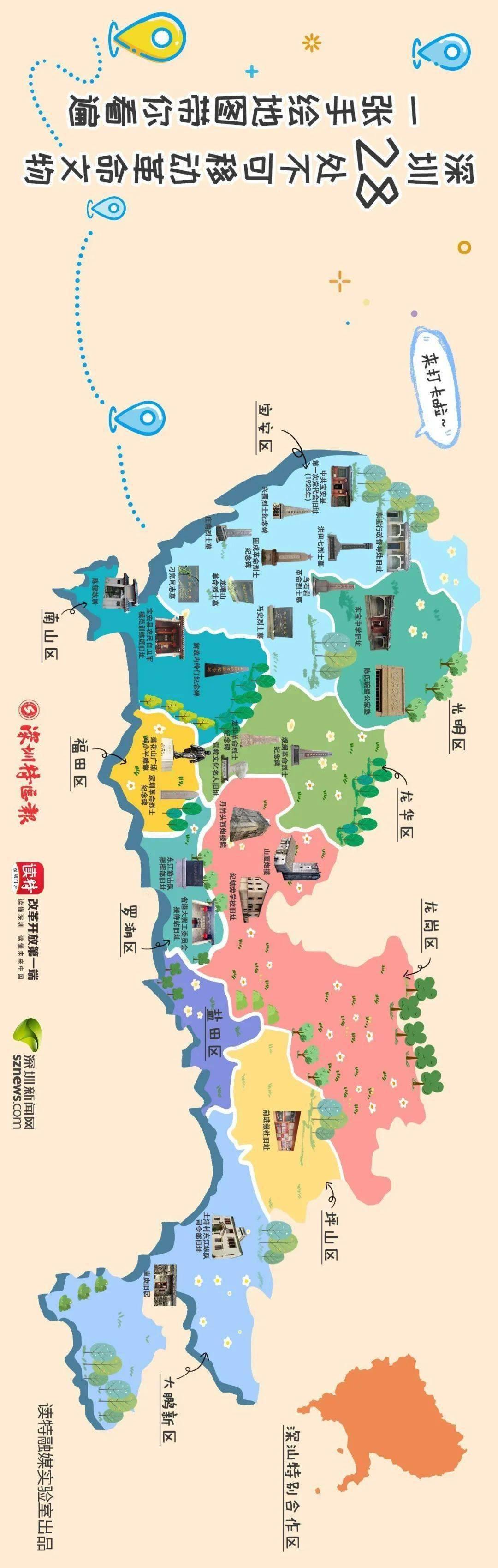 一张手绘地图带你看遍深圳28处红色印记