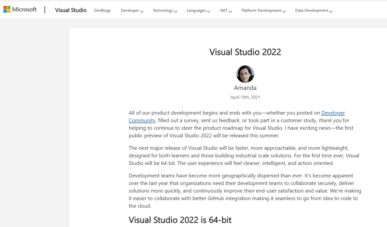 64 位来临:微软 Visual Studio 2022 预览版年内发布:更快,更轻量级