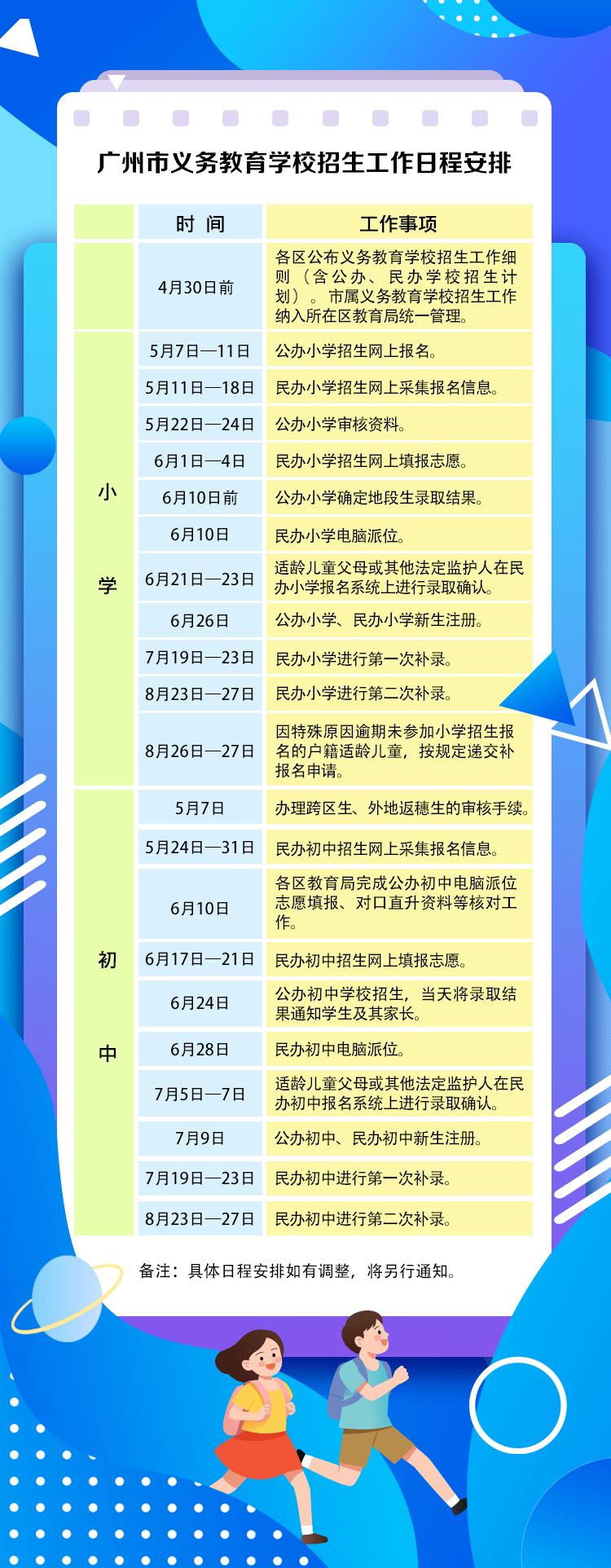 广州小学初中招生安排定了!小学5月7日起报名