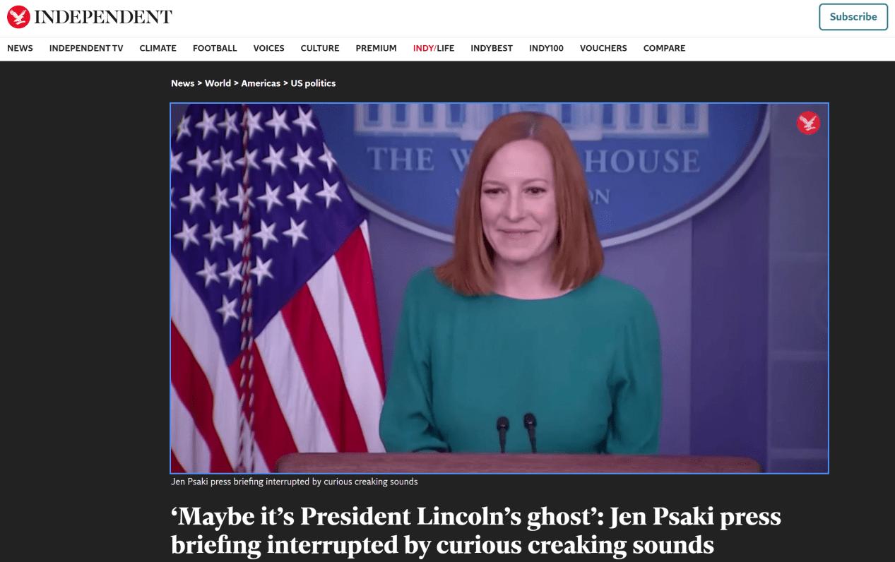 """记者会被奇怪""""吱吱""""声打断,白宫发言人和记者拿林肯开玩笑:也许是他的鬼魂"""