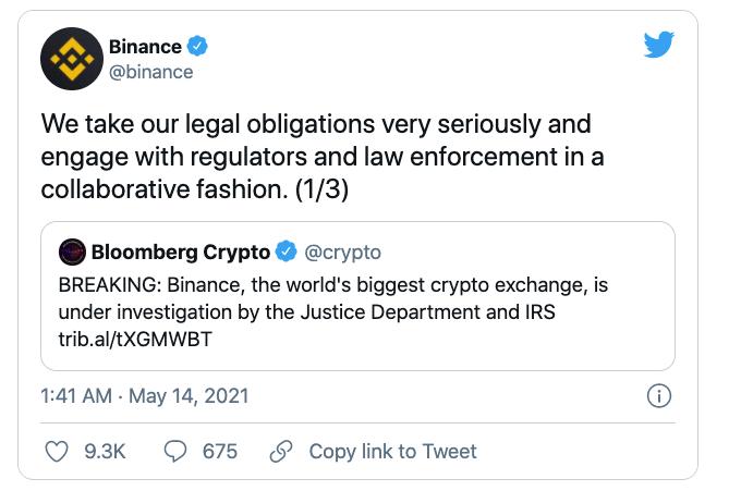 加密货币再遭暴击集体大跌 币安面临美国司法部和国税局调查